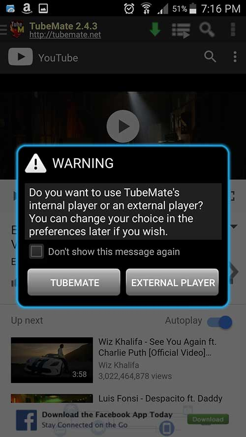 TubeMate YouTube Downloader player